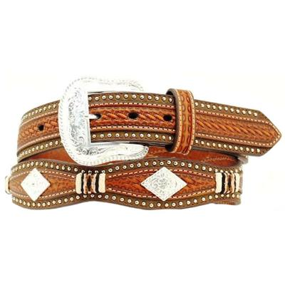 Mens Scallop BasketWeave Overlay Diamond Belt