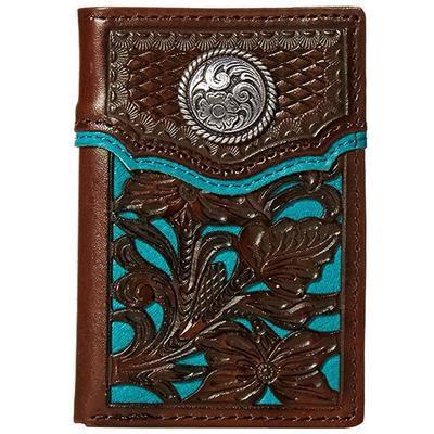 Nocona Blue Inlay Floral Tri-fold Wallet