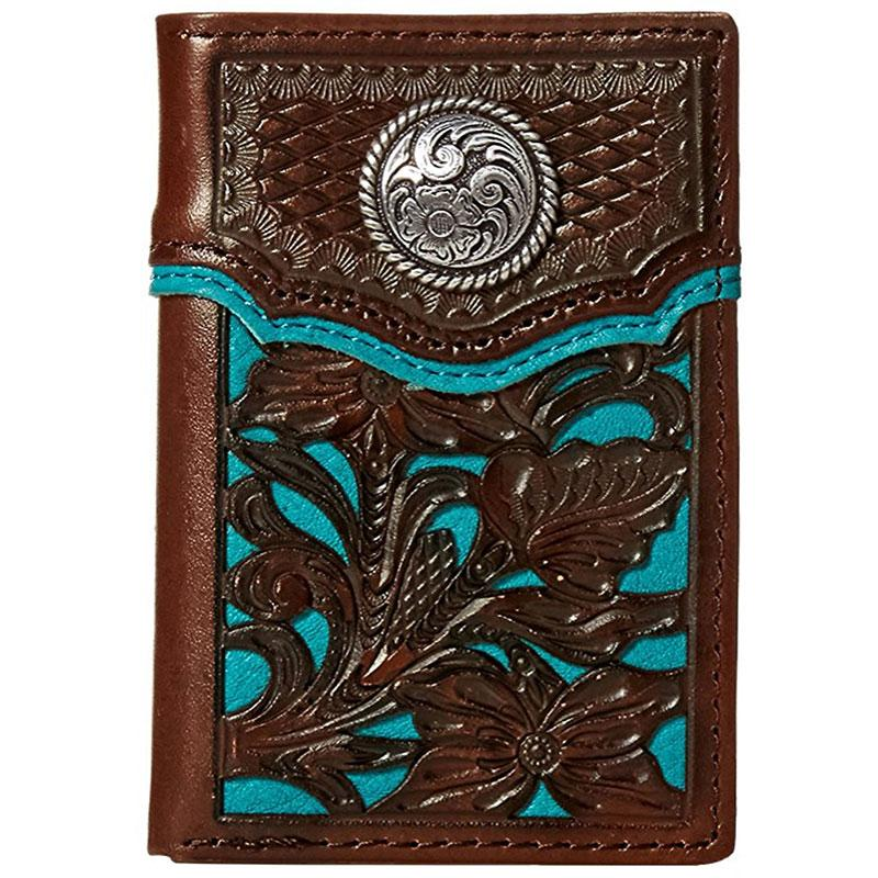 Nocona Blue Floral Overlay Rodeo Wallet