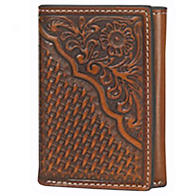 Nocona Tan Floral And Basket Weave Tooled Tri- Fold Wallet