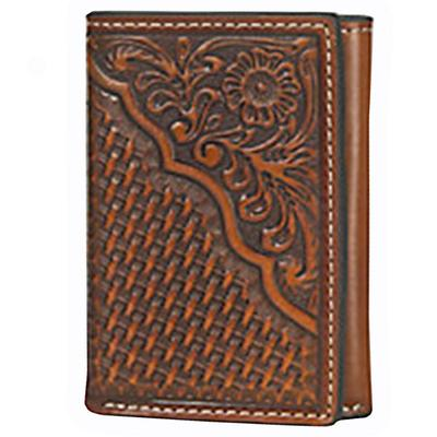 Nocona Tan Floral and Basket Weave Tooled Tri-fold Wallet