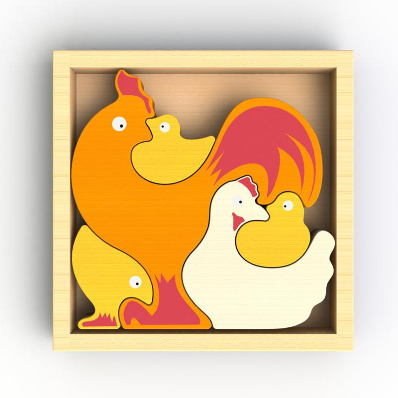 Chicken Family Puzzle And Playset