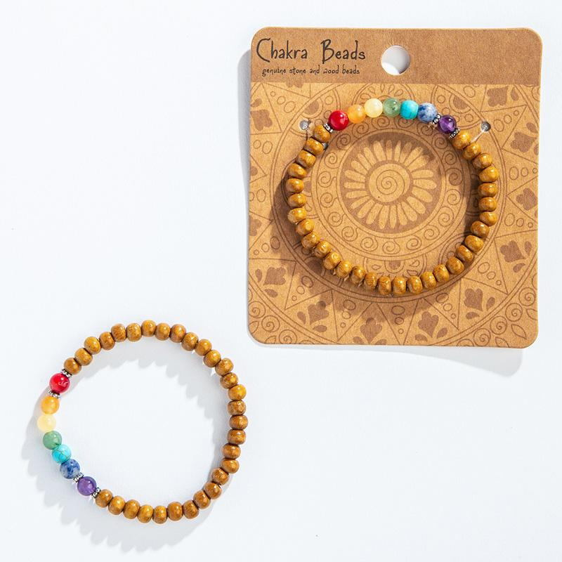 Chakra Stone And Wood Bracelet
