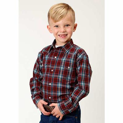 Boy's Western Plaid Long Sleeve Shirt