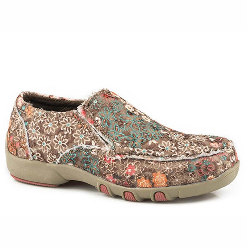 Girls ' Multi- Color Fabric Chase Floral Moc
