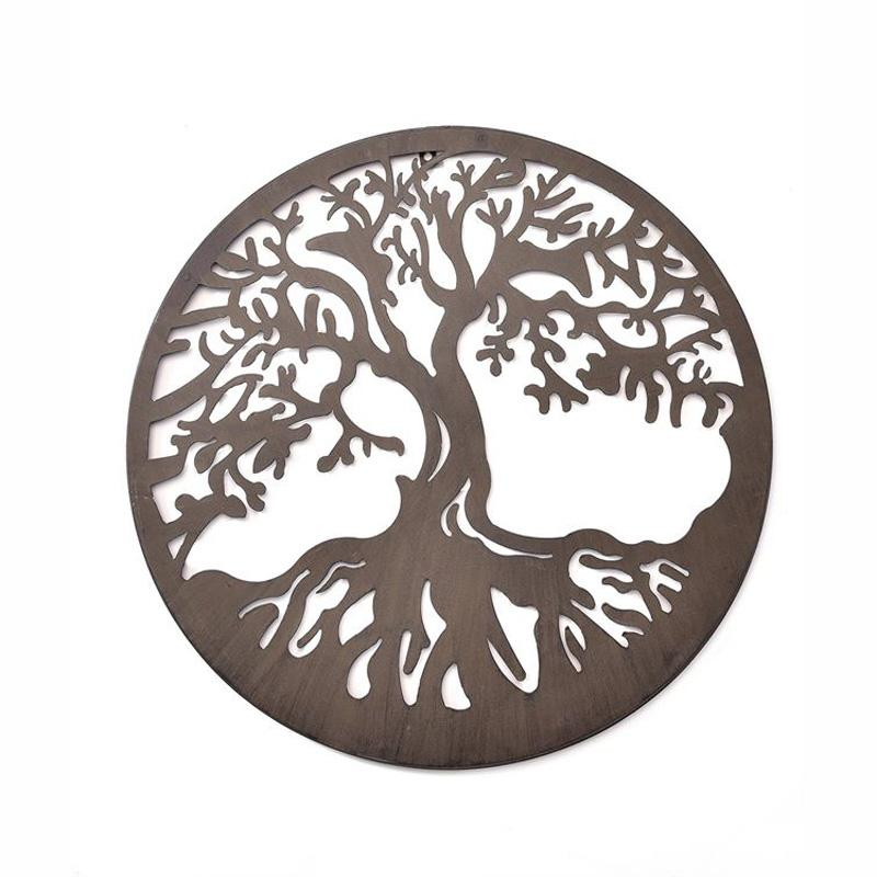 Round Iron Cut- Out Tree Design Wall Plaque
