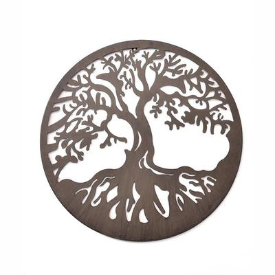 Round Iron Cut-Out Tree Design Wall Plaque