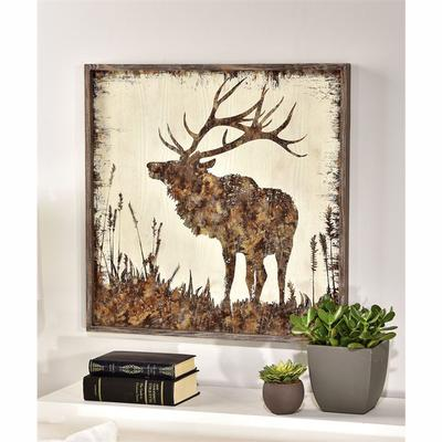 Deer Design Framed Canvas Wall Decor