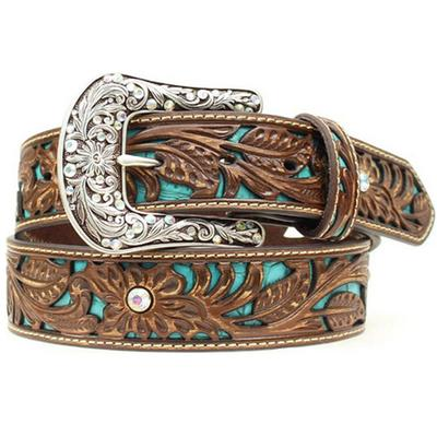 Womens Inlay Floral Tooled Belt