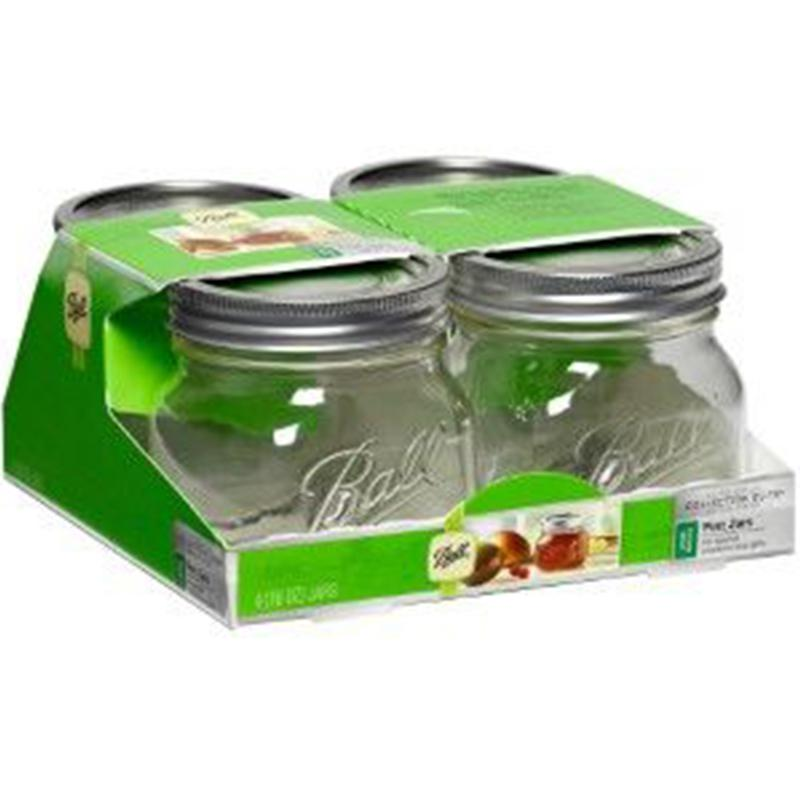 Elite Wide Mouth Pint 16 Oz.Glass Mason Jars - 4 Pk