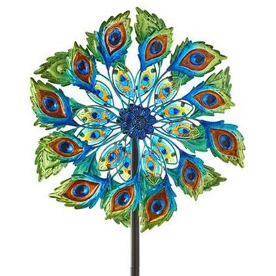 Peacock Feather Design Garden Stake Spinner