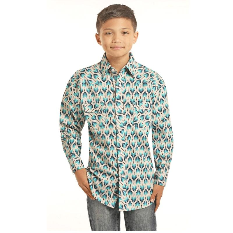 Boy's Ombre Arrow Print Snap Shirt