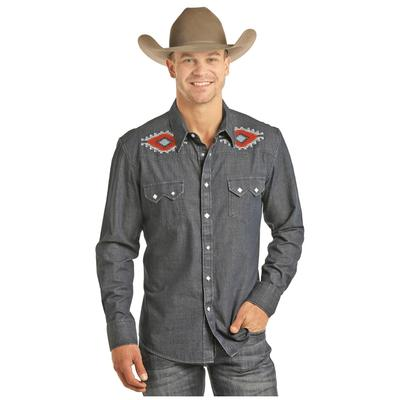Men's Crinkle Washed Denim Snap Shirt