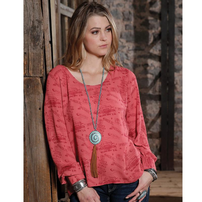 Women's Red Printed Long Sleeve Blouse