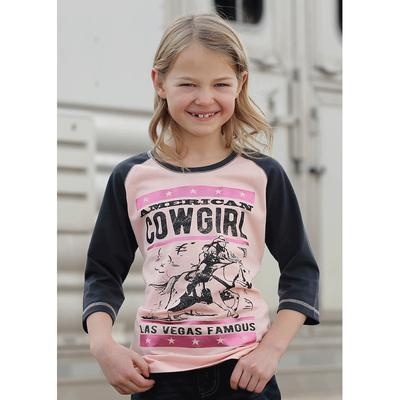 Girls Pink and Navy 3/4 Sleeve Raglan