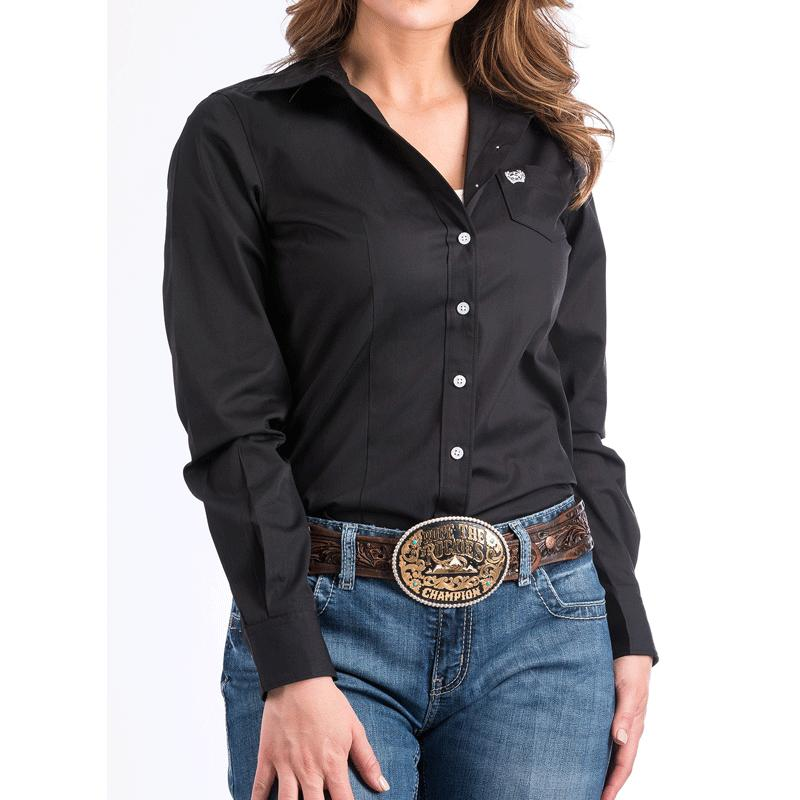 Women's Solid Black Button- Down Western Shirt