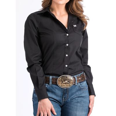Women's Solid Black Button-down Western Shirt