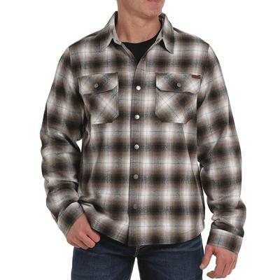 Men's Plaid Jersey Lined Shirt Jacket