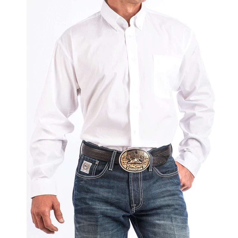 Men's Solid White Button- Down Western Shirt