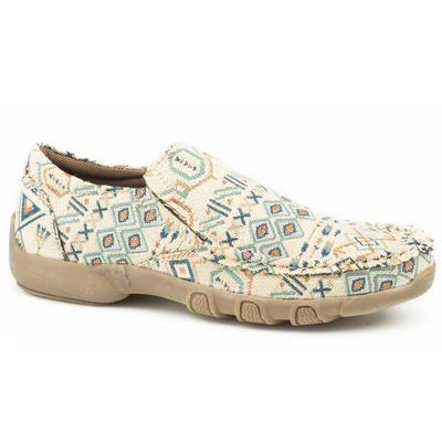 Women's Beiege and Blue Multi Color Aztec