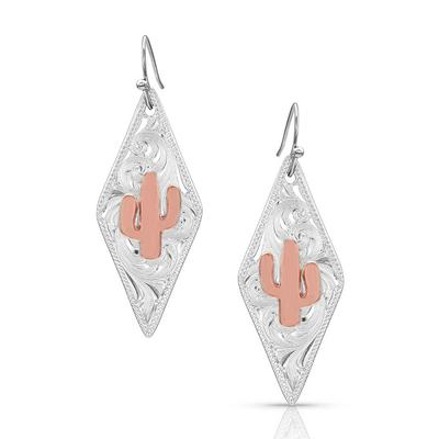 Two Tone Diamond Cactus Earrings