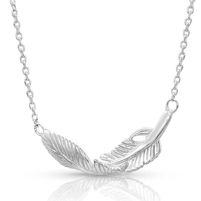 Turning Feather Pendant Necklace