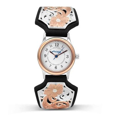 Rose Gold Round Face Vintage West Ladies Black Leather Band Watch
