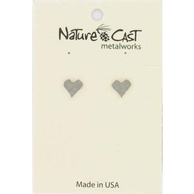 Hammered Flat Heart Post Earring
