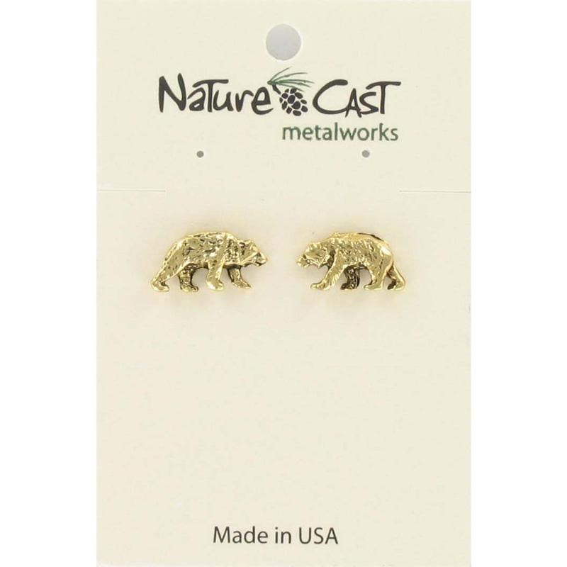 Gold Bear Post Earring
