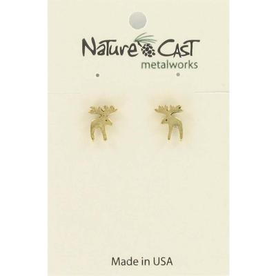 Gold Moose Post Earring