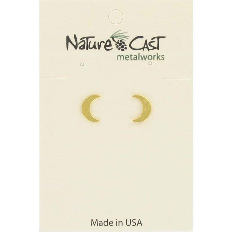 Gold Crescent Moon Post Earring