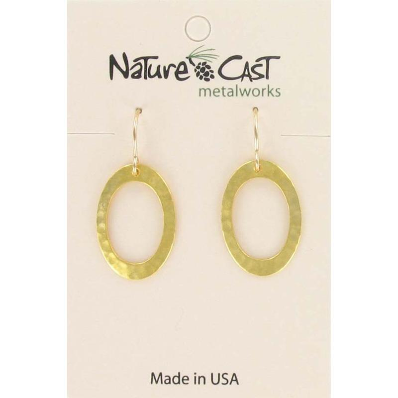 Gold Oval Hammered Hoop Dangle Earring