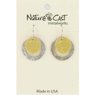2Tone Open Circle Hammered Dangle Earring