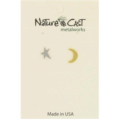2Tone Moon and Star Post Earring