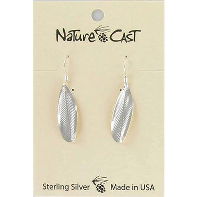 Silver Feather Imprint Dangle Earring