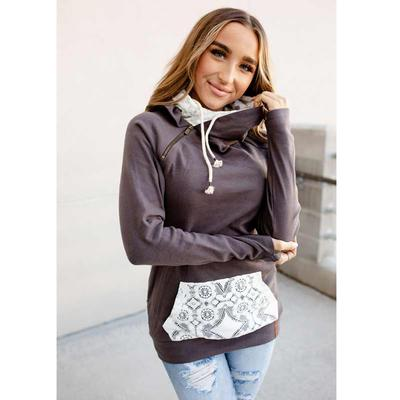 Lace Accent Doublehood Sweatshirt