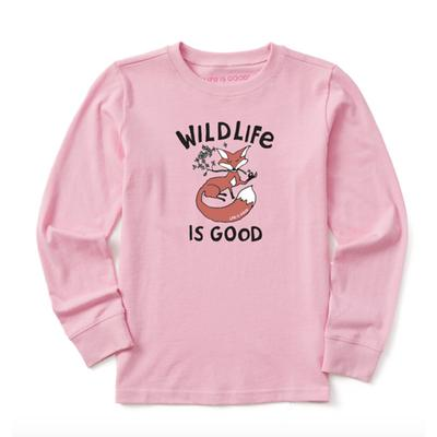 Kids WildLife is Good Fox Long Sleeve Crusher Tee