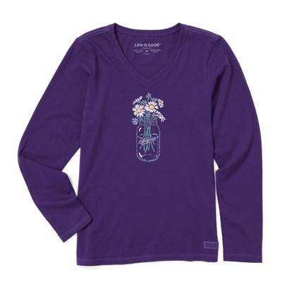Women's Daisies Jar Long Sleeve Crusher Vee