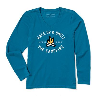 Women's Smell the Campfire Long Sleeve Crusher Vee