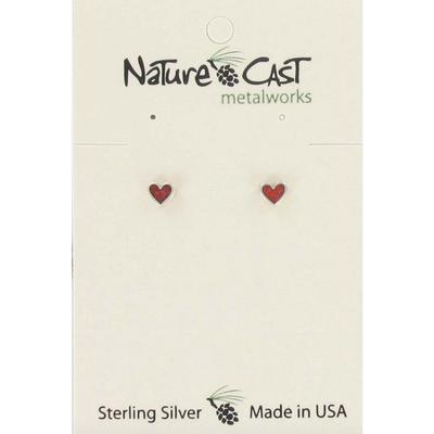 Silver Coral Inlay Heart Post Earring