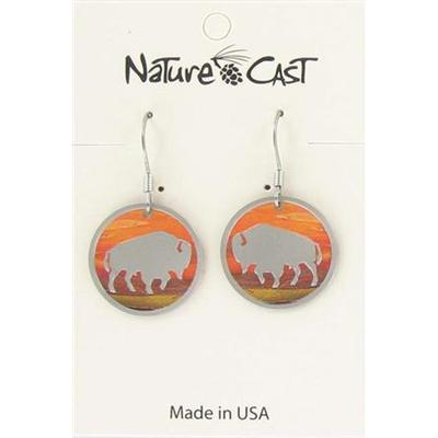 Sunset Round Bison Dangle Earring
