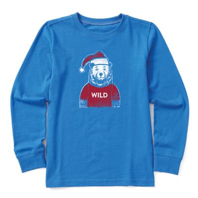 Kid's Wild Santa Bear Long Sleeve Crusher Tee