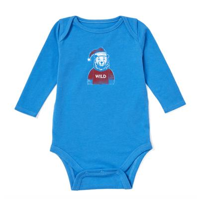 Baby Wild Santa Bear Long Sleeve Crusher Bodysuit