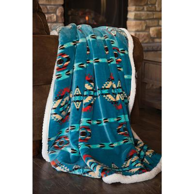 Turquoise Southwest Sherpa Throw