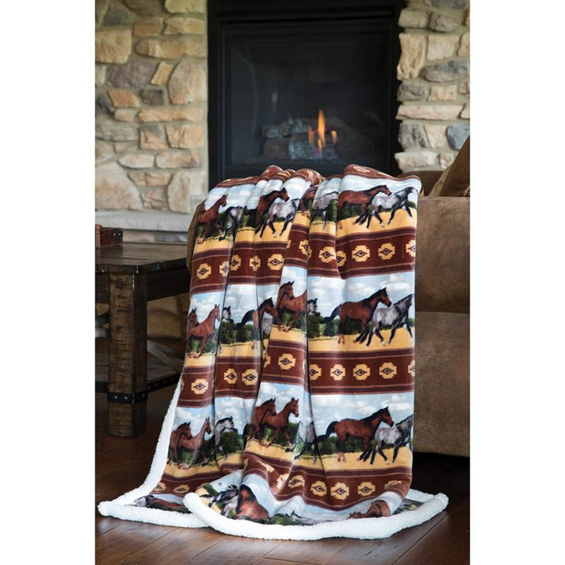 Horses Plush Throw