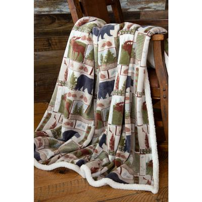 Vintage Lodge Sherpa Throw Blanket