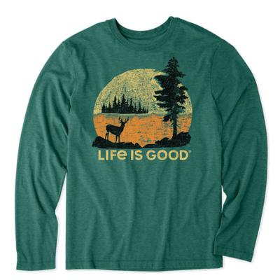 Men's Retro Deer Long Sleeve Cool Tee