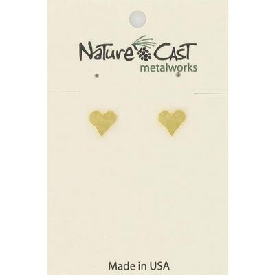 Gold Hammered Heart Post Earring