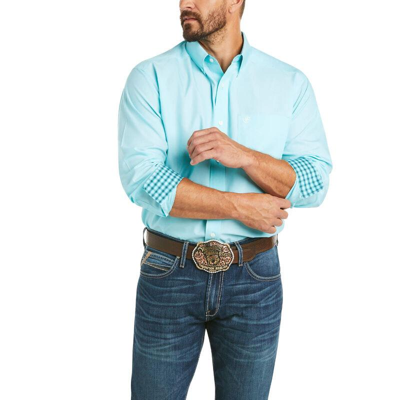 Mens Wrinke Free Solid Pinpoint Oxford Classic Long Sleeve