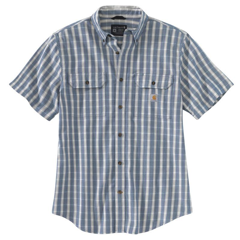 Men's Loose Fit Mid Weight Chambray Short Sleeve Plaid Shirt
